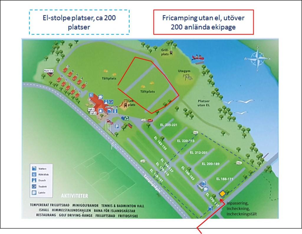 Aktuell camping för Bussfest Norrköping 20117 - blå streckad 200 el-platser röd markerad fricamp för övriga utan el