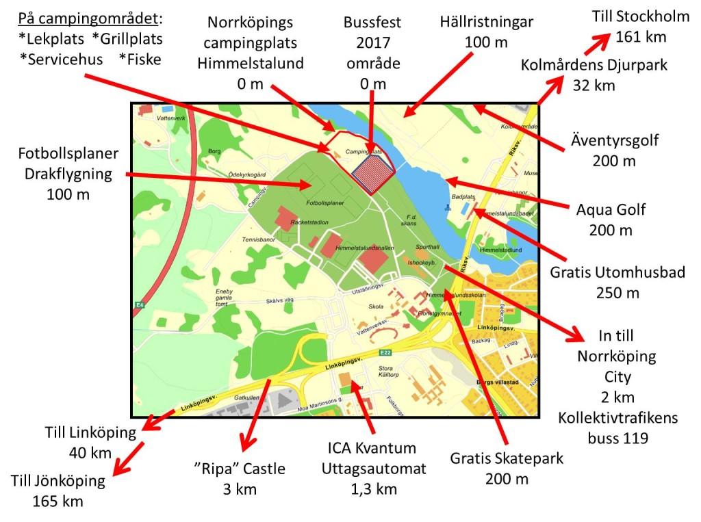 Skiss över Camping och aktiviteter i området